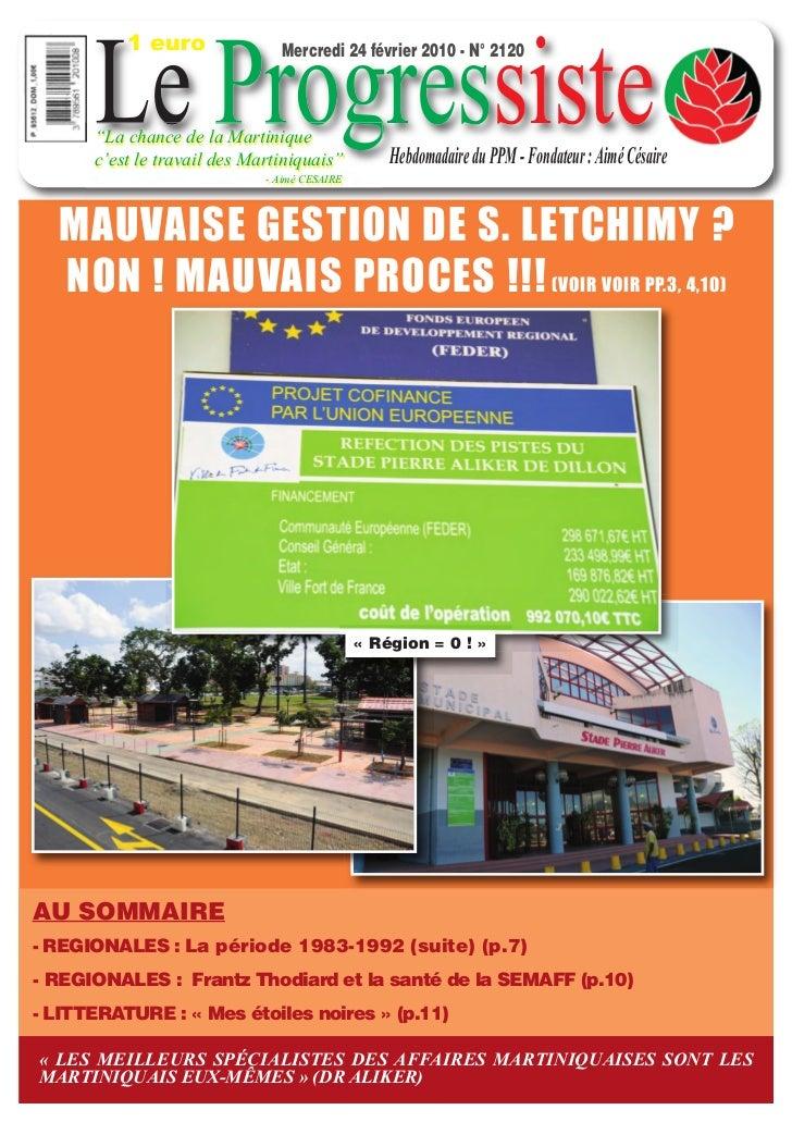"""1 euro         Le Progressiste                                  Mercredi 24 février 2010 - N° 2120         """"La chance de l..."""
