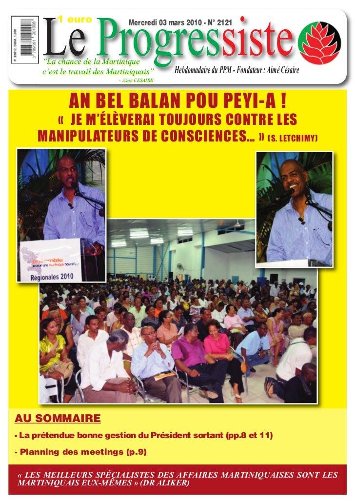 """1 euro      Le Progressiste                                Mercredi 03 mars 2010 - N° 2121      """"La chance de la Martiniqu..."""