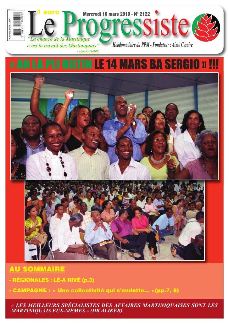 "1 euro         Le Progressiste                                 Mercredi 10 mars 2010 - N° 2122          ""La chance de la M..."