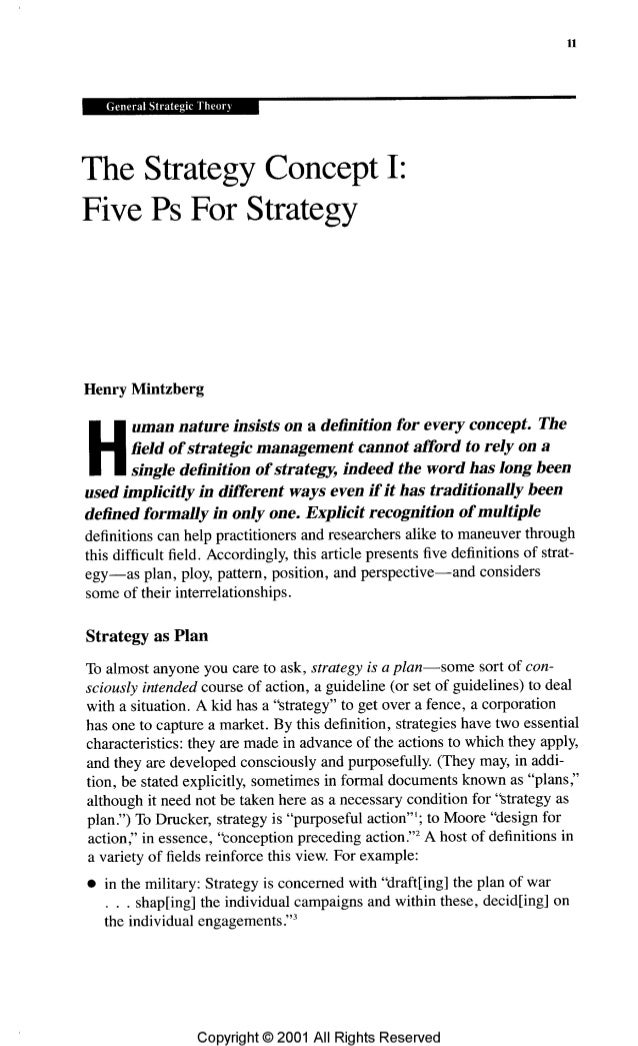 The concept of strategy: five Ps for strategy