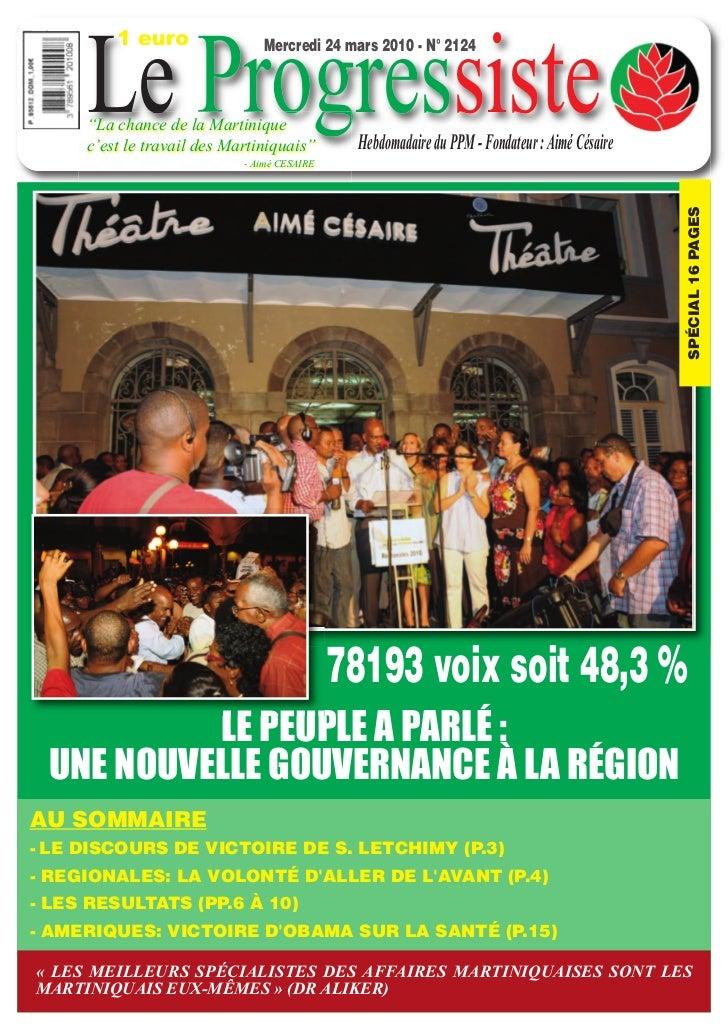 """1 euro     Le Progressiste                               Mercredi 24 mars 2010 - N° 2124     """"La chance de la Martinique  ..."""