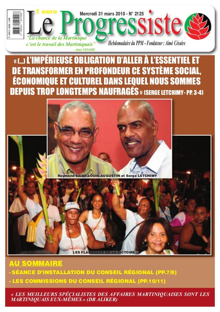 "1 euro     Le Progressiste                               Mercredi 31 mars 2010 - N° 2125     ""La chance de la Martinique  ..."