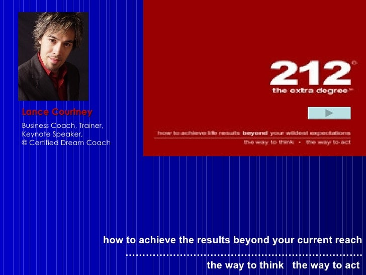 how to achieve the results beyond your current reach …………………………………………………………… . the way to think  the way to act   Lance Co...