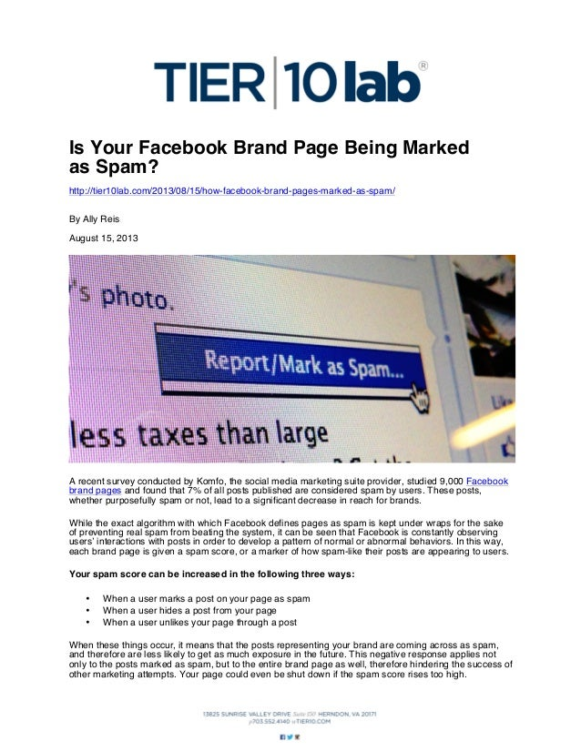 Is Your Facebook Brand Page Being Marked as Spam? http://tier10lab.com/2013/08/15/how-facebook-brand-pages-marked-as-spam/...