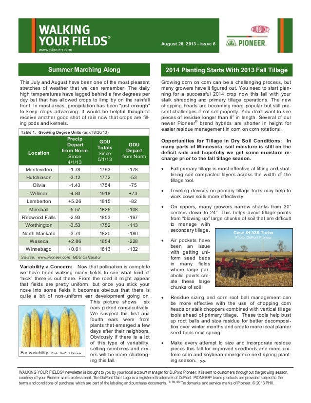Central Minnesota's Walking Your Fields newsletter-August