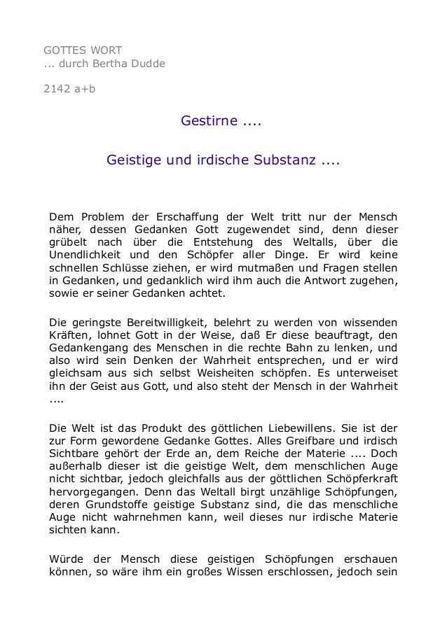GOTTES WORT ... durch Bertha Dudde 2142 a+b Gestirne .... Geistige und irdische Substanz .... Dem Problem der Erschaffung ...