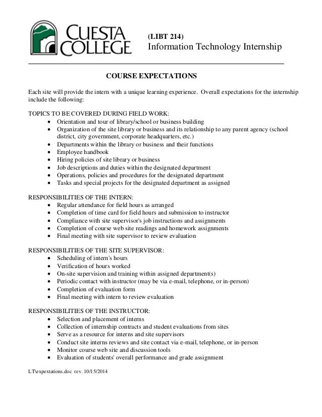 Cuesta College LIBT 214: Course expectations