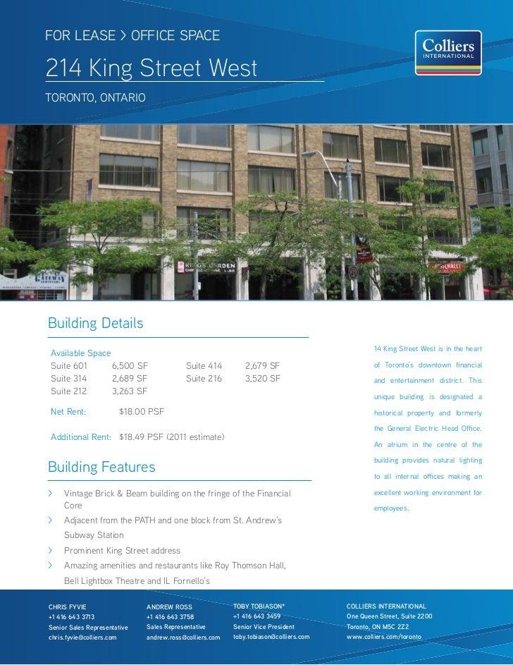 FOR LEASE > OFFICE SPACE214 King Street WestTOROnTO, OnTARIOBuilding Details                                              ...