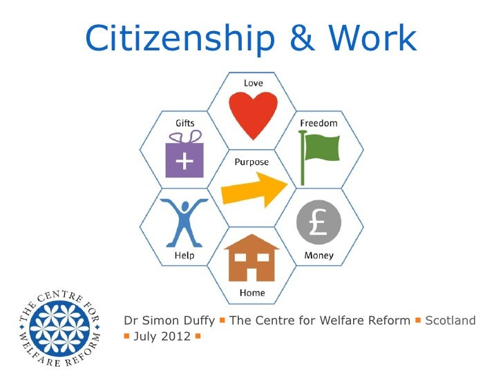 Citizenship & Work  Dr Simon Duffy ■ The Centre for Welfare Reform ■ Scotland  ■ July 2012 ■