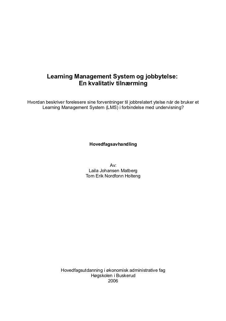 Learning Management System og jobbytelse: En kvalitativ tilnærming