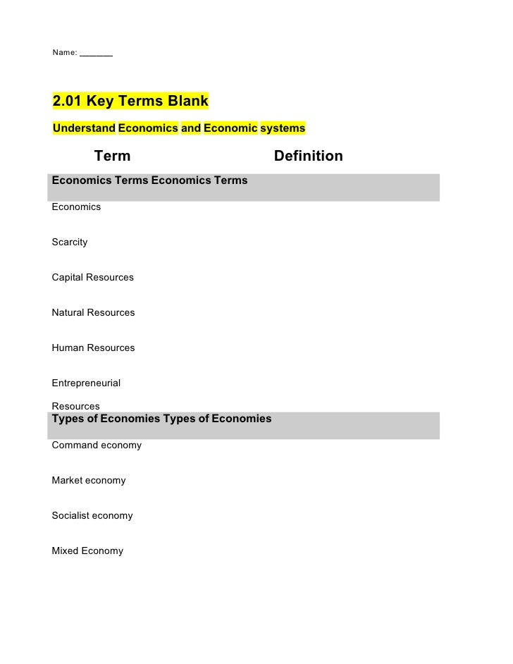 Name:     2.01 Key Terms Blank Understand Economics and Economic systems             Term                         Definiti...