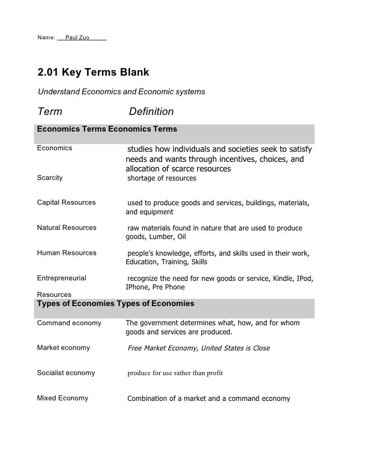 Name:      Paul Zuo     2.01 Key Terms Blank Understand Economics and Economic systems  Term                  Definition E...