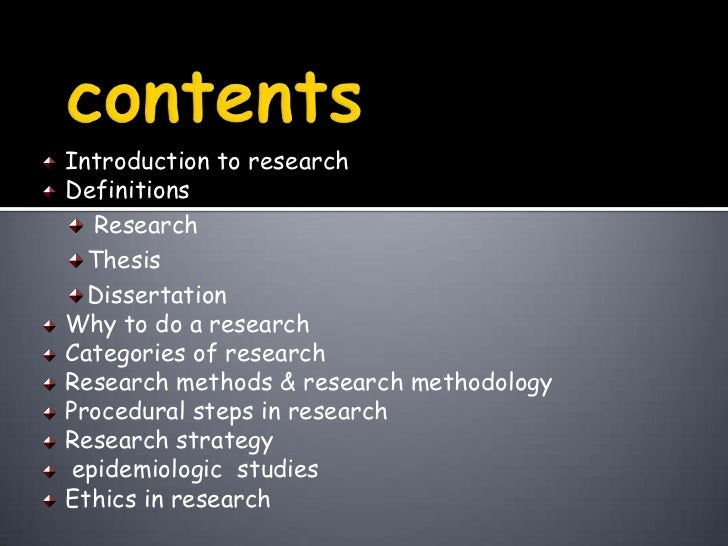 Define thesis in research methodology
