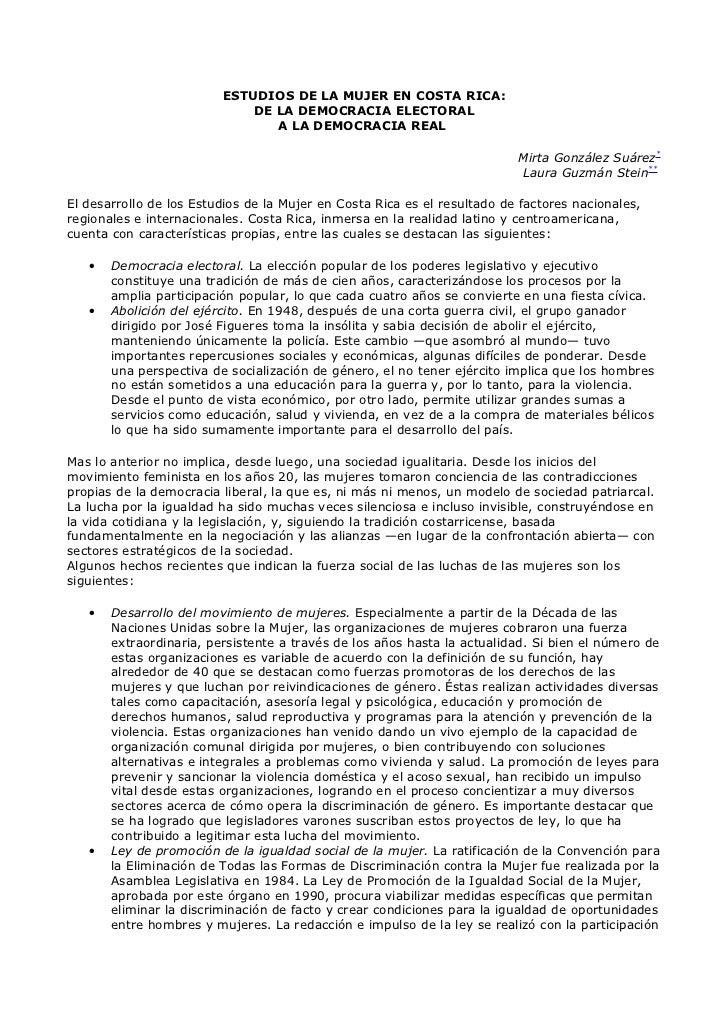 ESTUDIOS DE LA MUJER EN COSTA RICA:                             DE LA DEMOCRACIA ELECTORAL                                ...