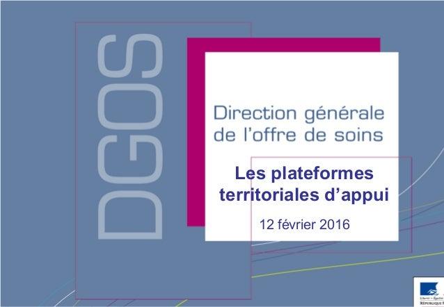 Direction générale de l'offre de soins - DGOS Les plateformes territoriales d'appui 12 février 2016