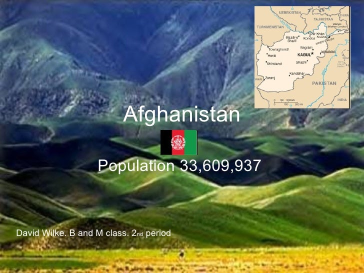 Afghanistan Population 33,609,937  David Wilke. B and M class. 2 nd  period