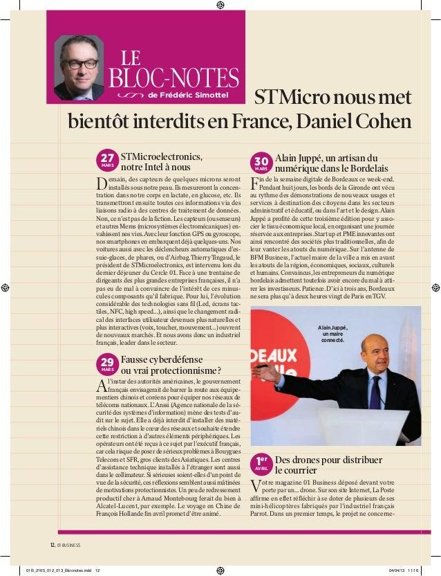 LE  BLOC-NOTES  STMicro nous met d bientôt interdits en France, Daniel Cohen a de Frédéric Simottel  27 STMicroelectronics...