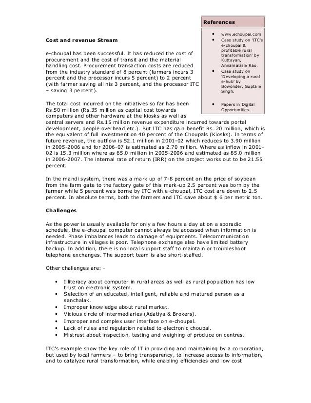 the itc echoupal initiative case analysis