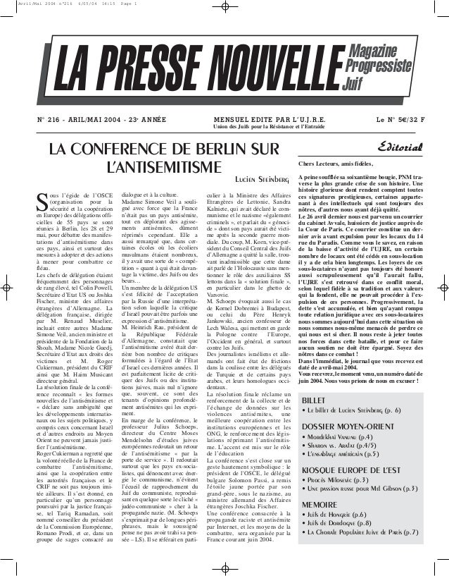 Presse Nouvelle Magazine 216 avril mai 2004