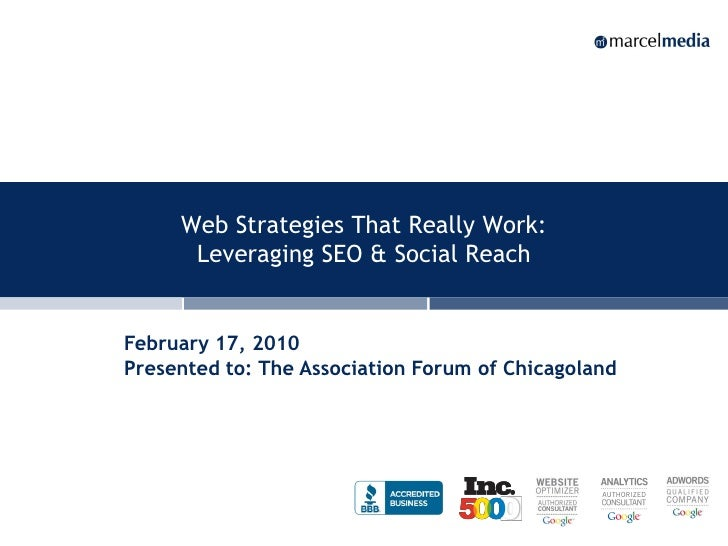 Web Strategies That Really Work:       Leveraging SEO & Social Reach   February 17, 2010 Presented to: The Association For...