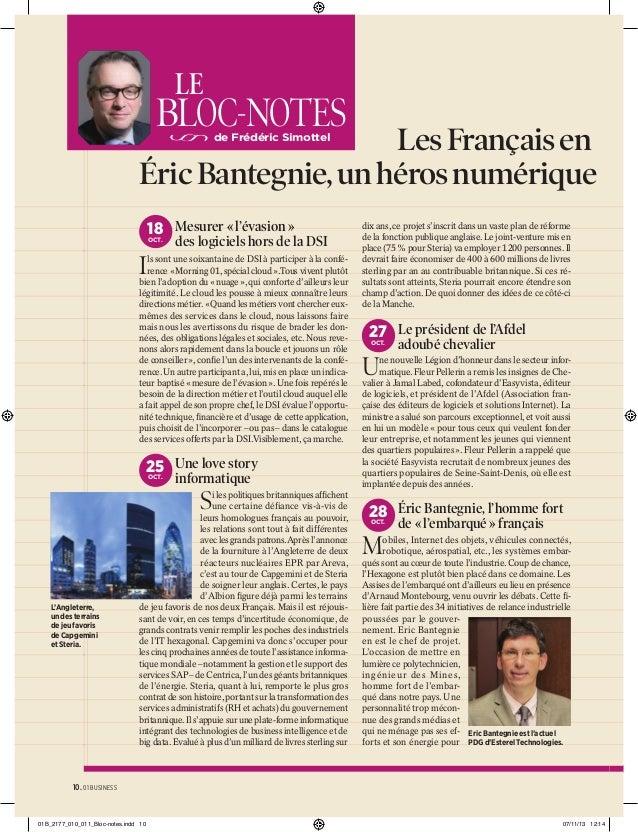 LE  BLOC-NOTES  Les Français en Éric Bantegnie, un héros numérique de Frédéric Simottel  18 Mesurer « l'évasion » OCT.  de...