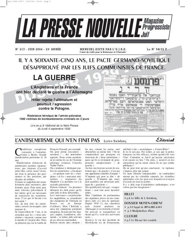 juin 2004 n°217  12/07/04  10:33  Page 1  LA PRESSE NOUVELLE N° 217 - JUIN 2004 - 23e A N NÉE  MENSUEL EDITE PAR L'U.J.R.E...