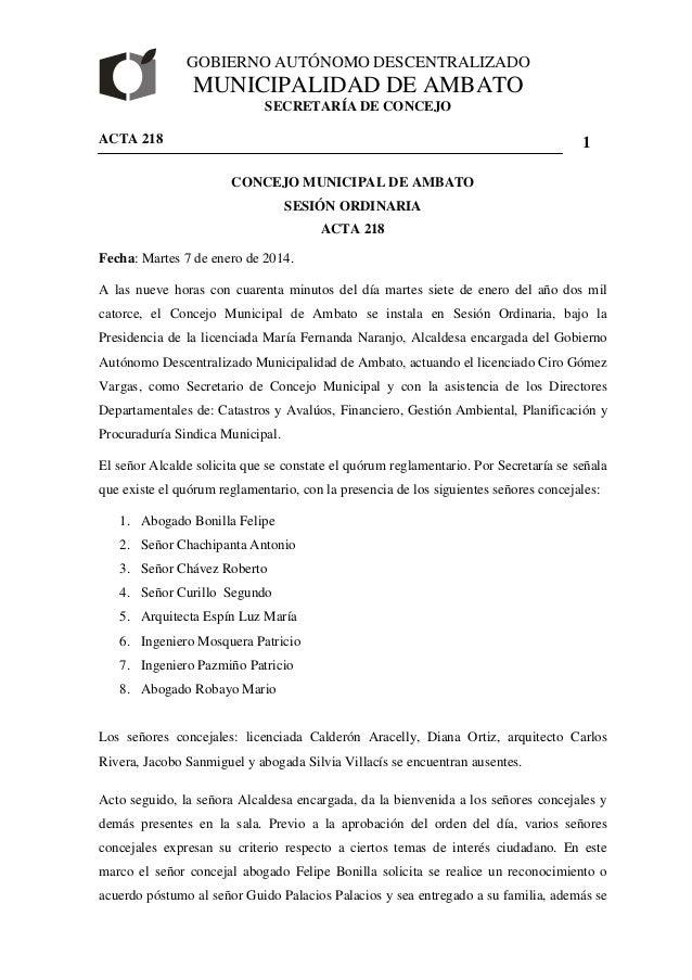 GOBIERNO AUTÓNOMO DESCENTRALIZADO  MUNICIPALIDAD DE AMBATO  SECRETARÍA DE CONCEJO  ACTA 218  1  CONCEJO MUNICIPAL DE AMBAT...
