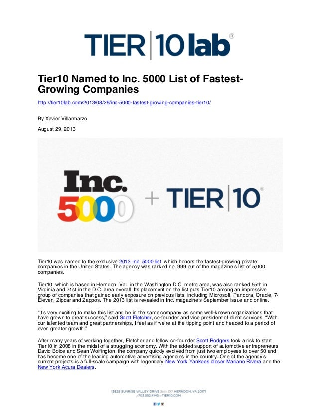 Tier10 Named to Inc. 5000 List of FastestGrowing Companies http://tier10lab.com/2013/08/29/inc-5000-fastest-growing-compan...