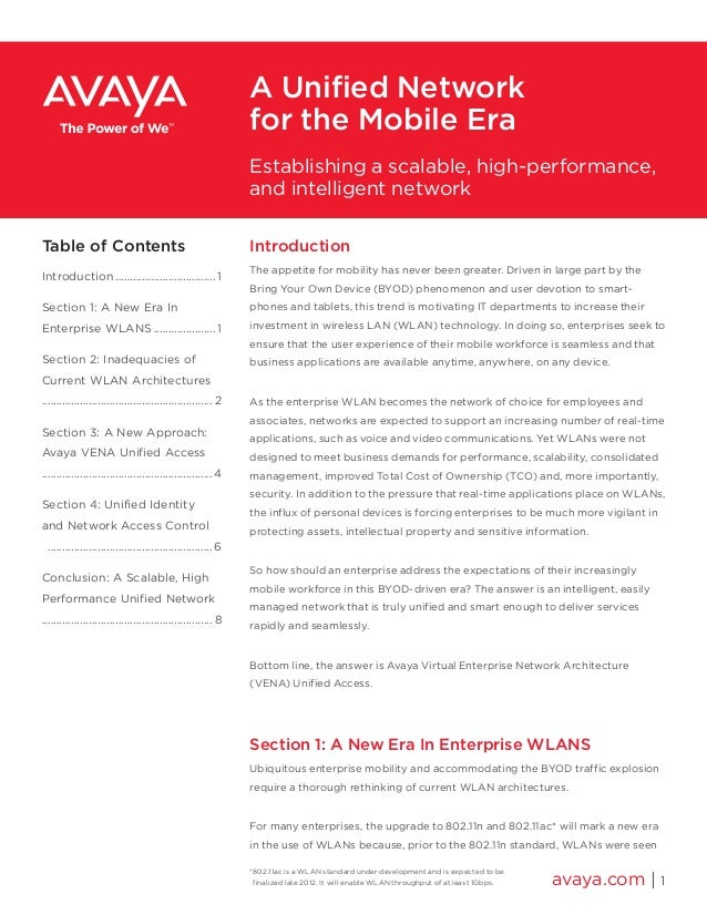 A Unified Network for the Mobile Era