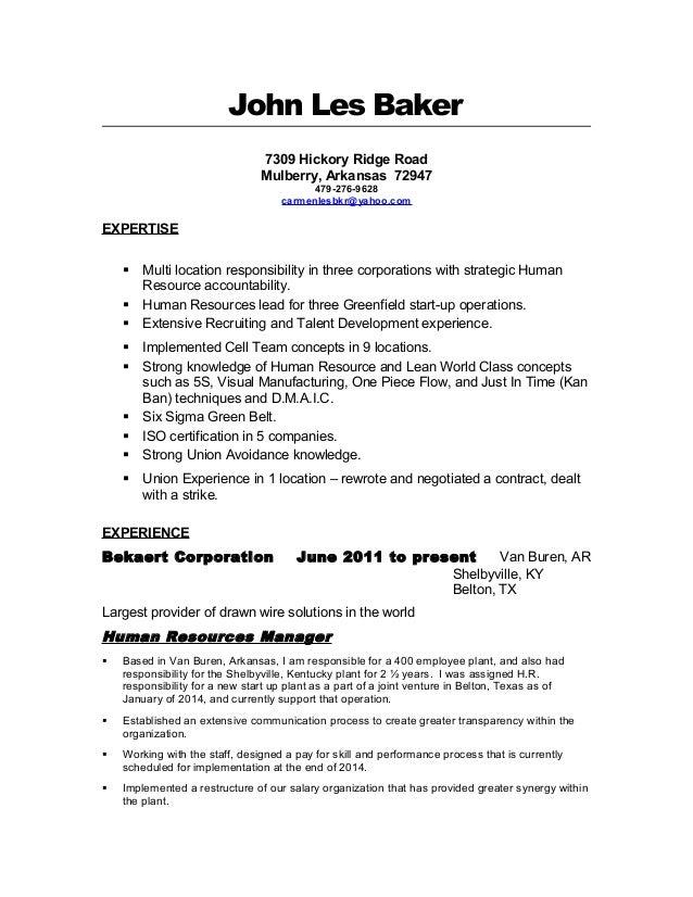 les baker resume human resources managerles baker resume human resources manager  john les baker hickory ridge road mulberry  arkansas