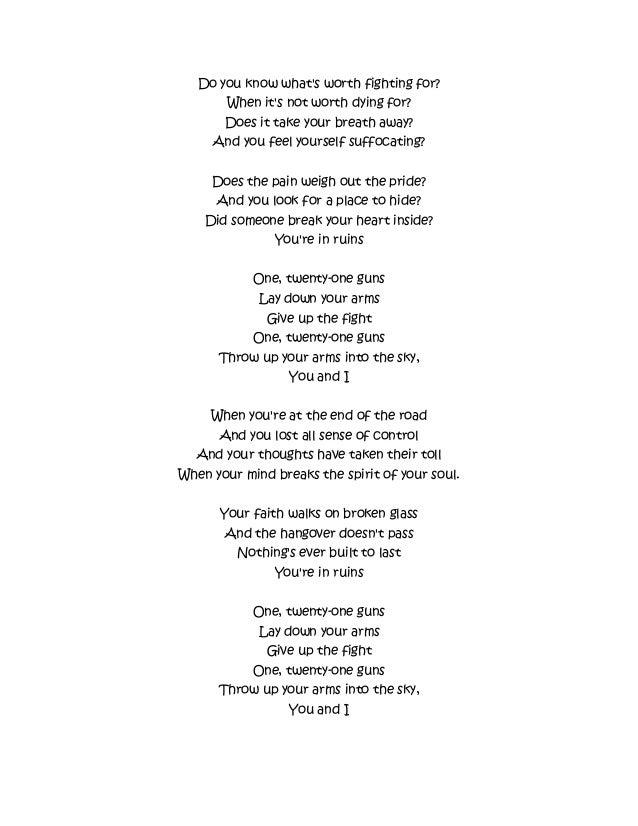 21 guns by green day lyrics