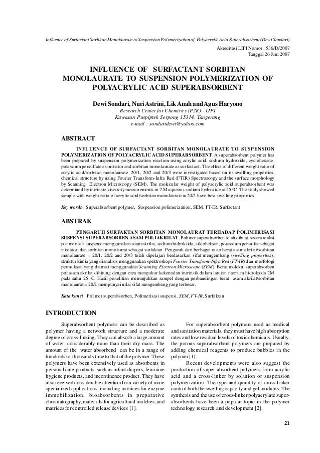 Influence of Surfactant Sorbitan Monolaurate to Suspension Polymerization of Polyacrylic Acid Superabsorbent (Dewi Sondari...