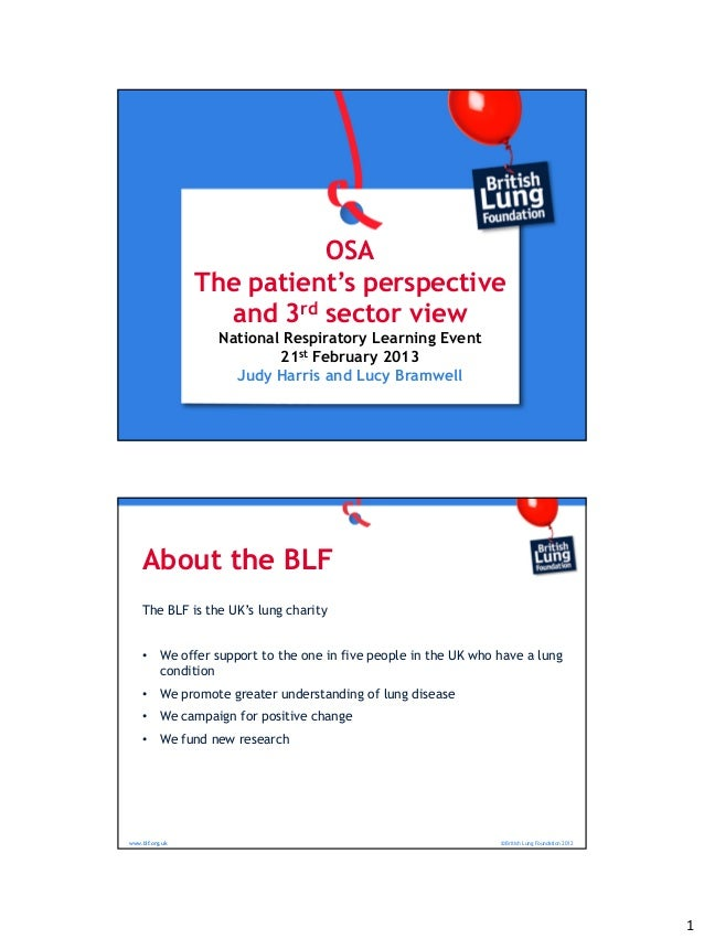 Breakout 2.1 OSA The patient's perspective and 3rd sector view - Judy Harris and Lucy Bramwell