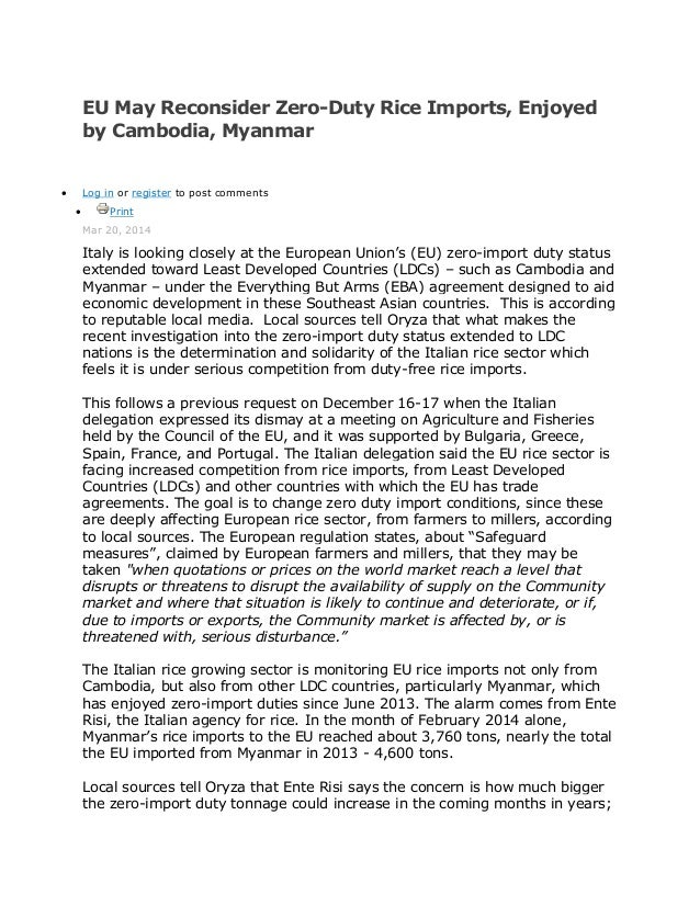 EU May Reconsider Zero-Duty Rice Imports, Enjoyed by Cambodia, Myanmar  Log in or register to post comments  Print Mar 2...