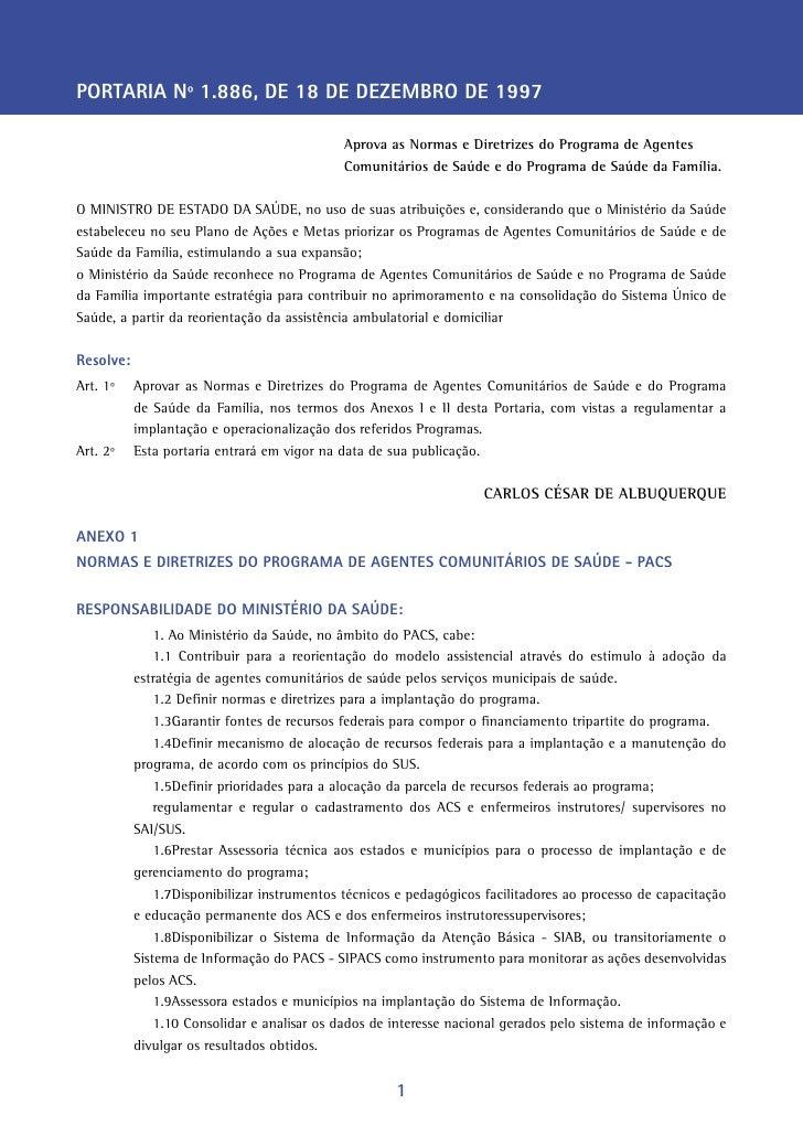 PORTARIA Nº 1.886, DE 18 DE DEZEMBRO DE 1997                                             Aprova as Normas e Diretrizes do ...