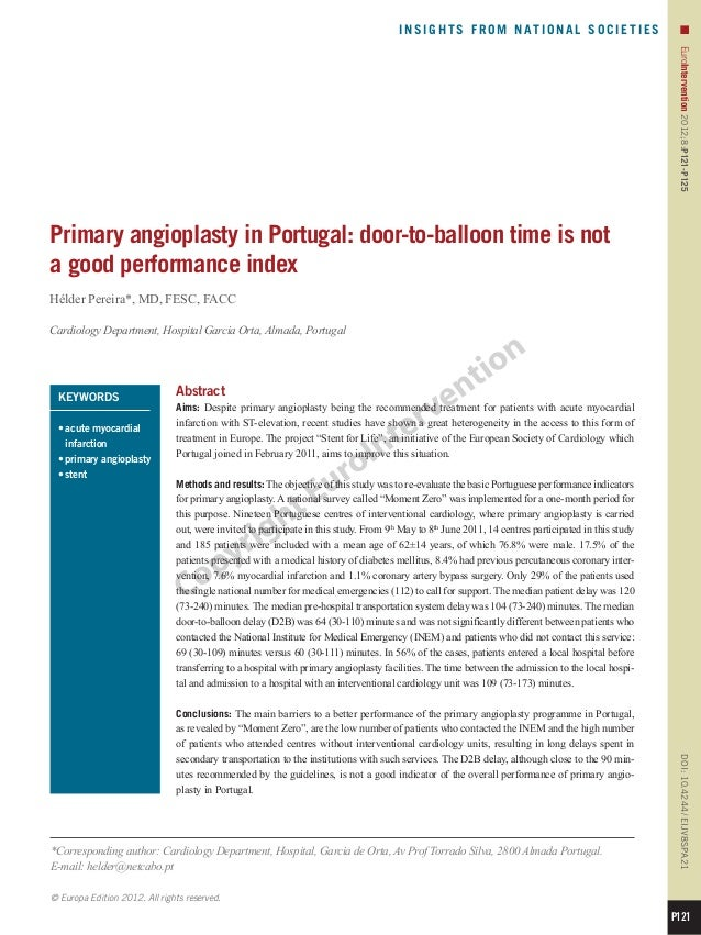 21 primary angioplasty in portugal door to-balloon time is not a good performance index