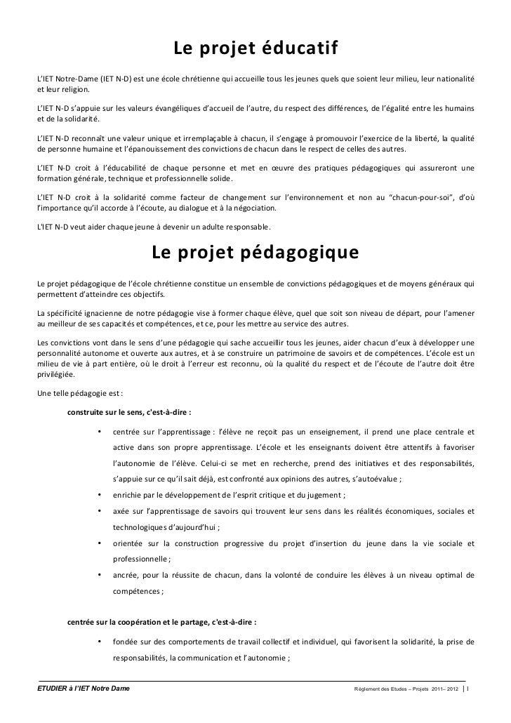 Le  p rojet  é ducatif L'IET Notre-‐Dame (IET N-‐D) est une école chrétienne qui accueille tou...