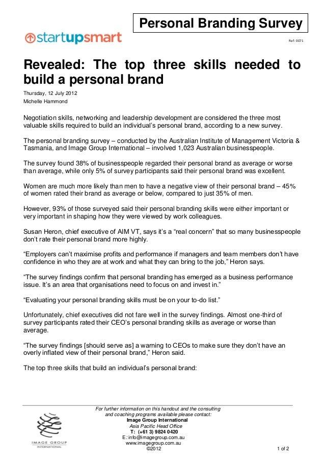 Personal Branding Survey                                                                                                Re...