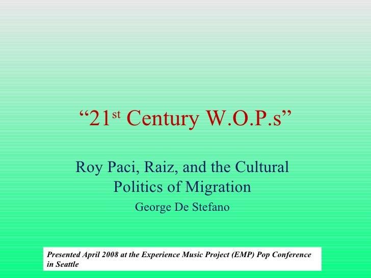 21st Century Wops: Roy Paci, Raiz, and the Cultural Politics of Migration