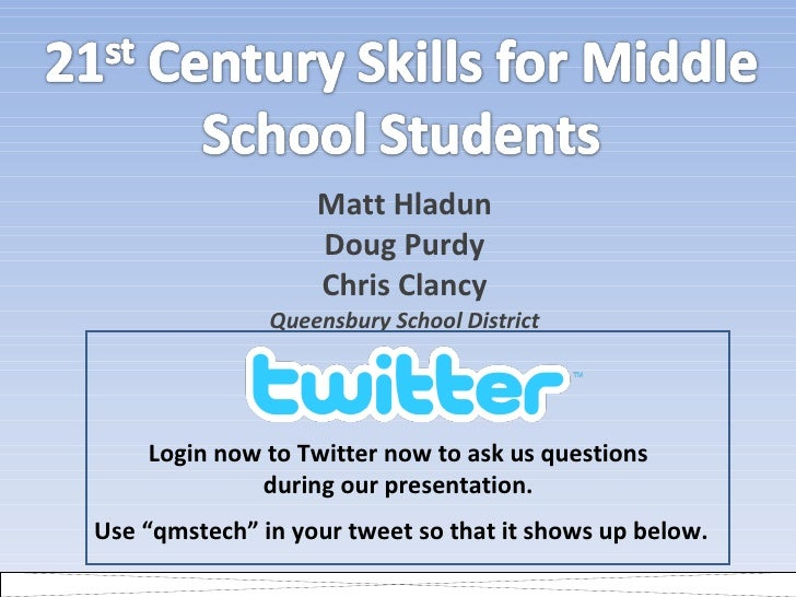 Matt Hladun Doug Purdy Chris Clancy Queensbury School District Login now to Twitter now to ask us questions  during our pr...