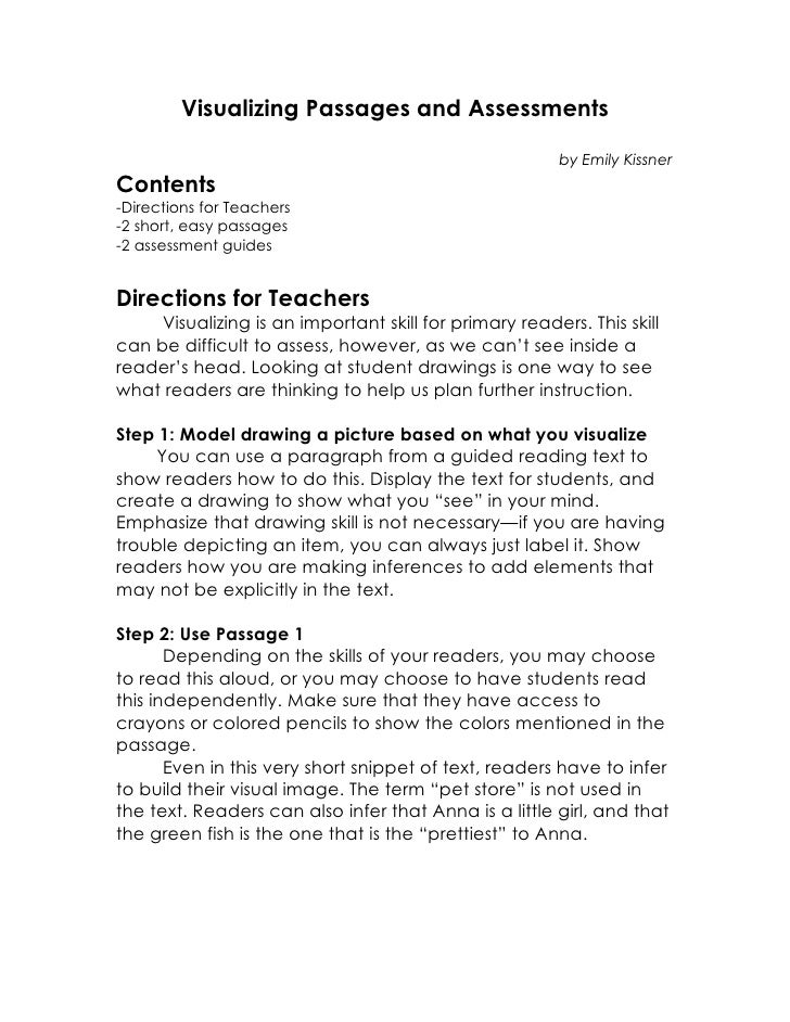 Visualizing Passages and Assessments                                                         by Emily KissnerContents-Dire...