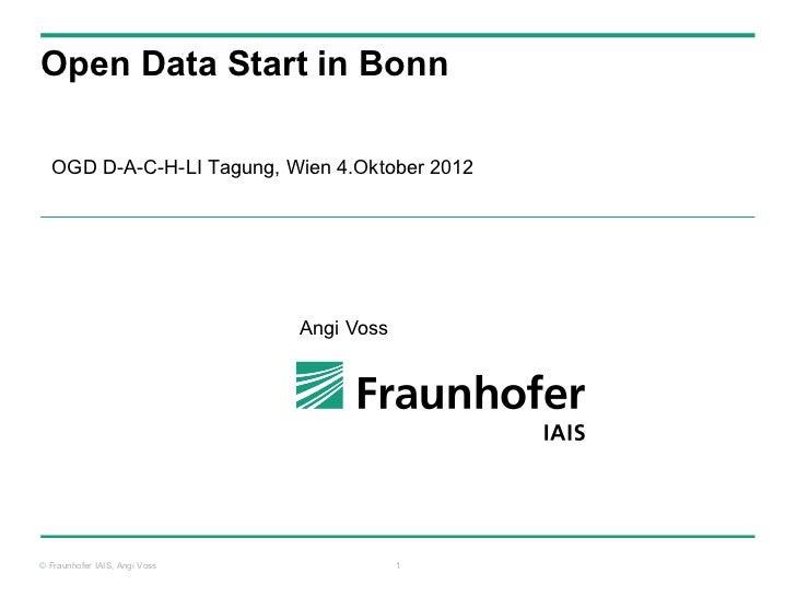 Open Data Start in Bonn  OGD D-A-C-H-LI Tagung, Wien 4.Oktober 2012                               Angi Voss© Fraunhofer IA...