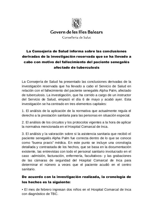 La Consejería de Salud informa sobre las conclusionesderivadas de la investigación reservada que se ha llevado acabo con m...