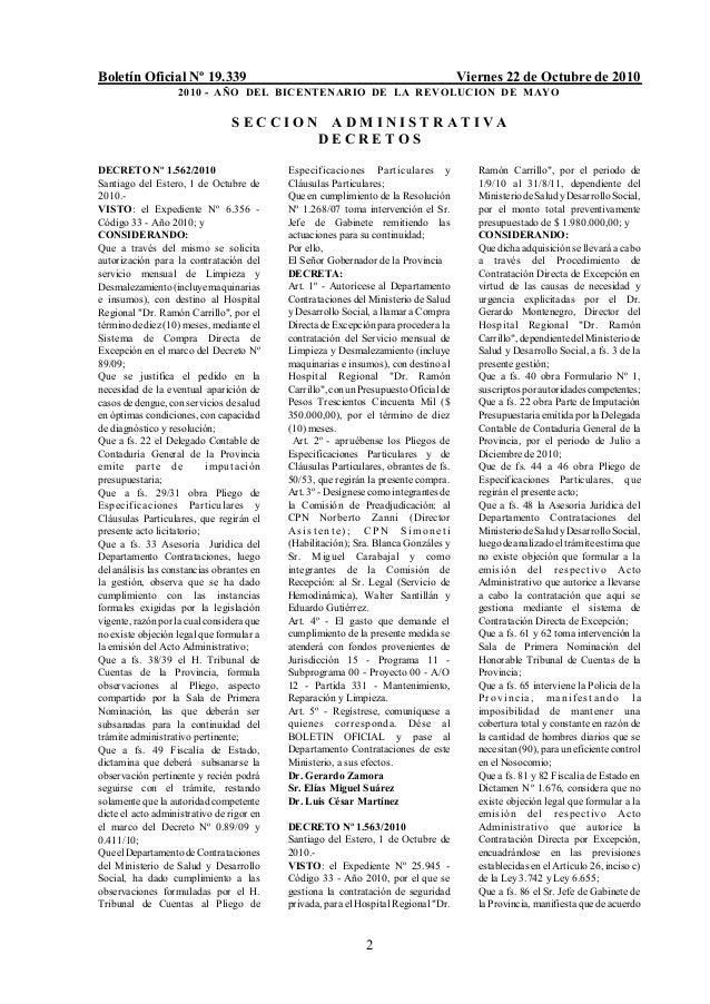 Boletín Oficial Nº 19.339 Viernes 22 de Octubre de 2010 2010 - AÑO DEL BICENTENARIO DE LA REVOLUCION DE MAYO 2 S E C C I O...