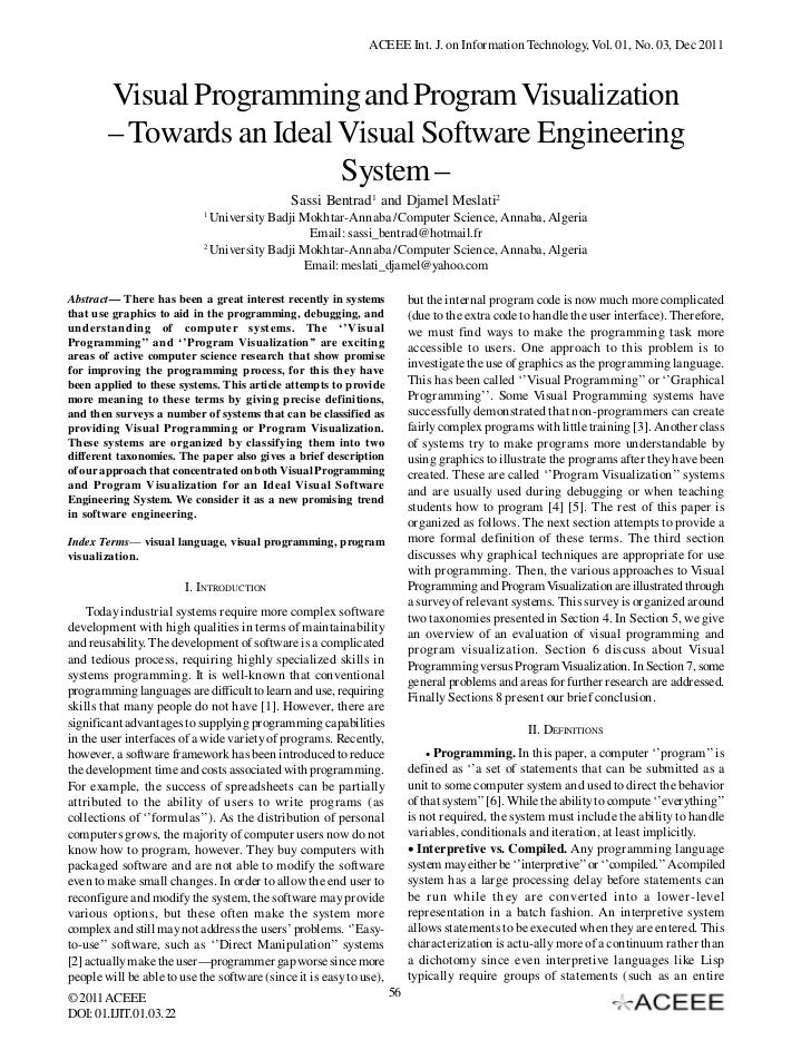 ACEEE Int. J. on Information Technology, Vol. 01, No. 03, Dec 2011        Visual Programming and Program Visualization    ...