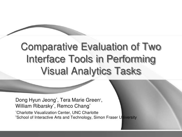 Comparative Evaluation of Two Interface Tools in Performing Visual Analytics Tasks<br />Dong Hyun Jeong*, Tera Marie Green...
