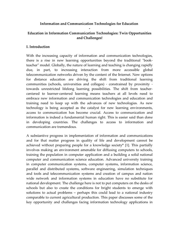 Information and Communication Technologies for Education                                   - Education in Information Comm...