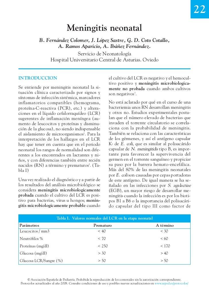 22                                   Meningitis neonatal               B. Fernández Colomer, J. López Sastre, G. D. Coto C...