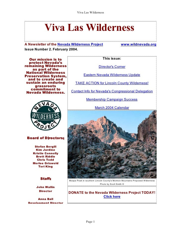 Viva Las Wilderness           Viva Las WildernessA Newsletter of the Nevada Wilderness Project                          ww...