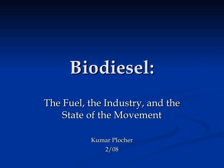 2/08 Presentation on Biodiesel and Yokayo Biofuels